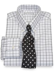 Non Iron Broadcloth Double Windowpane Button Down Collar, Button Cuffs