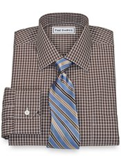 Non-Iron 2-Ply 100% Cotton Broadcloth Gingham Spread Collar Dress Shirt
