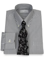 Non-Iron 2-Ply 100% Cotton Pinpoint Bengal Stripe Button Down Dress Shirt