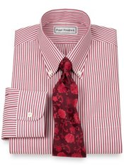 Non-Iron 2-Ply 100% Cotton Pinpoint Stripe Button Down Trim Fit Dress Shirt