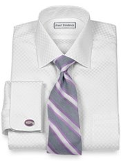 Non-Iron 2-Ply 100% Cotton Satin Check Spread Collar French Cuff Dress Shirt