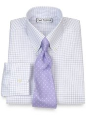 Non-Iron 2-Ply 100% Cotton Broadcloth Grid Button Down Dress Shirt