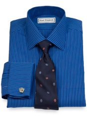 Non-Iron 2-Ply 100% Cotton Stripe Spread Collar French Cuff Dress Shirt