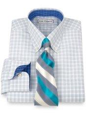 Non-Iron 2-Ply 100% Cotton Windowpane Button Down Collar Trim Fit Dress Shirt