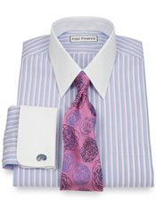 Non-Iron 2-Ply 100% Cotton Twin Stripe Straight Collar French Cuff Dress Shirt