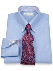 Non-Iron 2-Ply 100% Cotton Windowpane Button Down Collar Trim Fit Dress Shirt