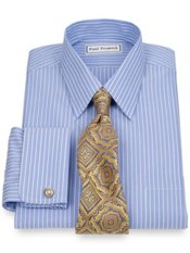 Non-Iron 2-Ply 100% Cotton Straight Collar French Cuff Trim Fit Dress Shirt
