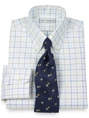Non-Iron 2-Ply 100% Cotton Tattersall Button Down Collar Trim Fit Dress Shirt