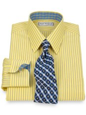 Non-Iron 2-Ply 100% Cotton Stripe Straight Collar Trim Fit Dress Shirt