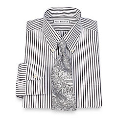 Non-Iron 2-Ply 100 Cotton Pinpoint Stripe Button Down Collar Dress Shirt $20.00 AT vintagedancer.com