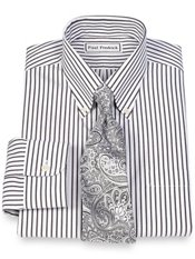Non-Iron 2-Ply 100% Cotton Stripe Button Down Collar Trim Fit Dress Shirt