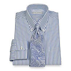 Non-Iron 2-Ply 100 Cotton Stripe Button Down Collar Trim Fit Dress Shirt $40.00 AT vintagedancer.com