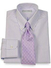 Non-Iron 2-Ply 100% Cotton Stripe Button Down Collar Trim Fit Dress Shirt
