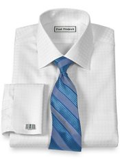 Non-Iron 2-Ply 100% Cotton Satin Grid Spread Collar French Cuff Dress Shirt