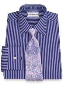 Non-Iron 2-Ply 100% Cotton Bold Stripe Spread Collar Dress Shirt