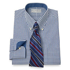 Non-Iron 2-Ply 100 Cotton Tattersall Button Down Collar Dress Shirt $70.00 AT vintagedancer.com