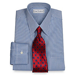 Non-Iron 2-Ply 100 Cotton Stripe Straight Collar Dress Shirt $40.00 AT vintagedancer.com