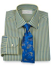 Non-Iron 2-Ply 100% Cotton Satin Stripe Spread Collar Trim Fit Dress Shirt
