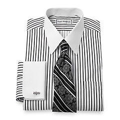 Non-Iron 2-Ply 100 Cotton Stripe Straight Collar French Cuff Dress Shirt $40.00 AT vintagedancer.com