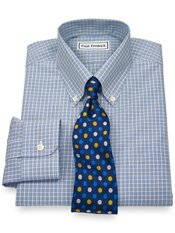 Non-Iron 2-Ply 100% Cotton Broadcloth Check Button Down Dress Shirt