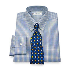 Non-Iron 2-Ply 100 Cotton Broadcloth Check Button Down Dress Shirt $40.00 AT vintagedancer.com