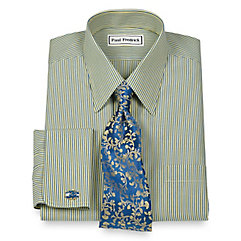Non-Iron 2-Ply 100 Cotton Straight Collar French Cuff Trim Fit Dress Shirt $40.00 AT vintagedancer.com