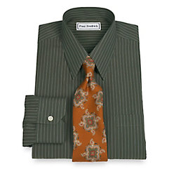 Trim Fit Non-Iron 2-Ply 100 Cotton Stripe Straight Collar Dress Shirt $70.00 AT vintagedancer.com