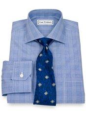 Non-Iron 2-Ply 100% Cotton Broadcloth Glen Plaid Spread Collar Dress Shirt