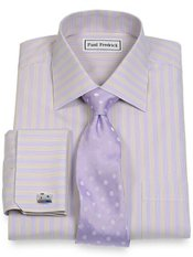 Non-Iron 2-Ply 100% Cotton Pinpoint Stripe Spread Collar French Cuff Dress Shirt