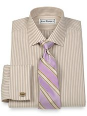 Non-Iron 2-Ply 100% Cotton Stripe Jermyn Street Collar French Cuff Dress Shirt