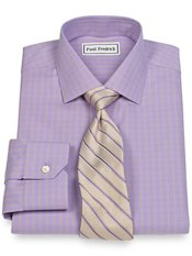 Non-Iron 2-Ply 100% Cotton Windowpane Jermyn Street Collar Trim Fit Dress Shirt