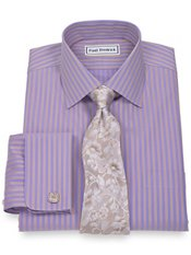 Non-Iron 2-Ply 100% Cotton Satin Stripe Spread Collar French Cuff Dress Shirt