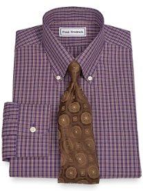 Non-Iron 2-Ply 100% Cotton Grid Button Down Collar Dress Shirt