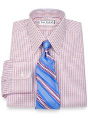 Non-Iron 2-Ply 100% Supima® Cotton Check Straight Collar Dress Shirt