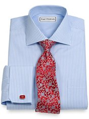 Non-Iron 100% Supima® Cotton Stripe Spread Collar French Cuff Dress Shirt