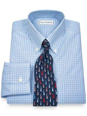 Non-Iron 100% Supima® Cotton Grid Button Down Collar Trim Fit Dress Shirt