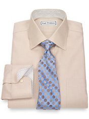 Non-Iron 2-Ply 100% Cotton Herringbone Spread Collar Dress Shirt
