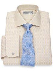 Non-Iron 2-Ply 100% Cotton Check Spread Collar French Cuff Trim Fit Dress Shirt
