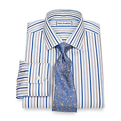 Non-Iron 2-Ply 100 Cotton Alternating Stripes Jermyn Street Collar Dress Shirt $40.00 AT vintagedancer.com
