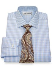 Non-Iron 2-Ply 100% Cotton Check Jermyn Street Collar Trim Fit Dress Shirt