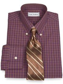Non-Iron 2-Ply 100% Cotton Check Button Down Collar Dress Shirt