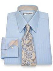 Non-Iron 2-Ply 100% Cotton Satin Stripes Straight Collar Trim Fit Dress Shirt