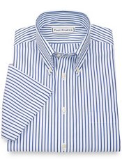 Non-Iron 2-Ply 100% Cotton Stripe Button Down Collar Short Sleeve Dress Shirt