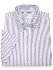 Non-Iron 2-Ply 100% Cotton Stripe Button Down Collar Short Sleeve Dress Shirt