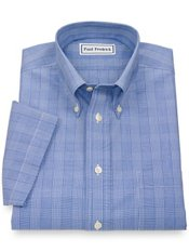 Non-Iron 2-Ply 100% Cotton Plaid Button Down Collar Short Sleeve Dress Shirt