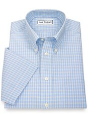 Non-Iron 2-Ply 100% Cotton Check Button Down Collar Short Sleeve Dress Shirt