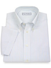Non-Iron 2-Ply 100% Cotton Grid Button Down Collar Short Sleeve Dress Shirt