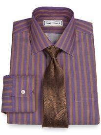 Non-Iron 2-Ply 100% Cotton Satin Twill Stripe Spread Collar Dress Shirt