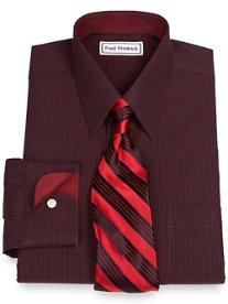 Non-Iron 2-Ply 100% Cotton Grid Straight Collar Dress Shirt