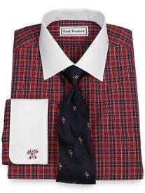 Trim Fit Non-Iron 100% Cotton Tartan Spread Collar French Cuff Dress Shirt